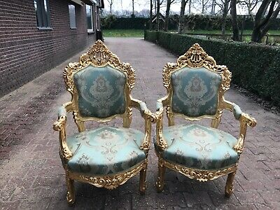 Antique Pair Of Two Chairs In Italian Baroque/rococo Style.