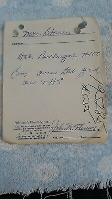 Old Medical Prescript. Ca. 1954, Whitlock's Pharmacy, Inc. Spartanburg?(195285)