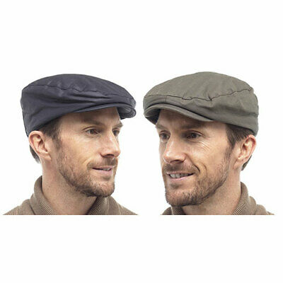 Mens Lined Waxed Flat Cap Wax Barbour Style Fishing Golfing Shooting Country Hat