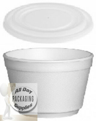 1000 SMALL 4oz 120ml WHITE POLYSTYRENE FOAM TUBS +LIDS FOOD CONDIMENT CONTAINERS