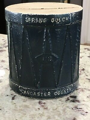 Vintage CAST IRON DRUM BANK by Kenco Marked  U.S. Lancaster County Spring Gulch