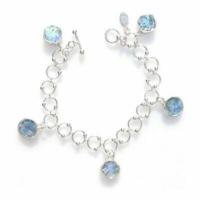 Solid Sterling Silver Iridescent Authentic Antique Roman Glass Toggle Bracelet