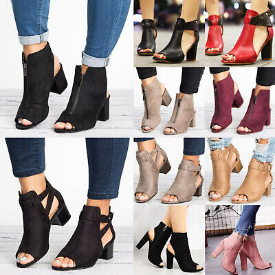 c722da347aaa Womens Block Mid High Heel Chunky Sandals Open Toe Ankle Strap Boots Party  Shoes