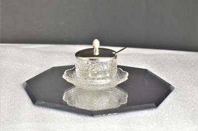 Antique Silverplate Covered Crystal Glass Salt Cellar Starburst w/Spoon