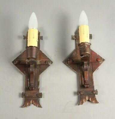 Antique Pair Of 1920's Spanish Revival Monterey Period Sconces Lights (11779)