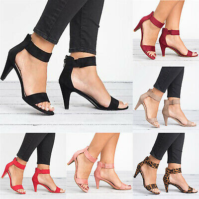 Womens Ladies Stiletto Low Heels Suede Sandals Ankle Strappy Peep Toe Shoes Size