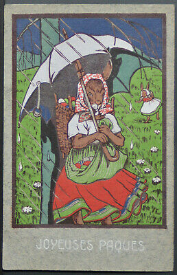 Easter - Early 20th Century European Mother Rabbit & Bunny  PC365