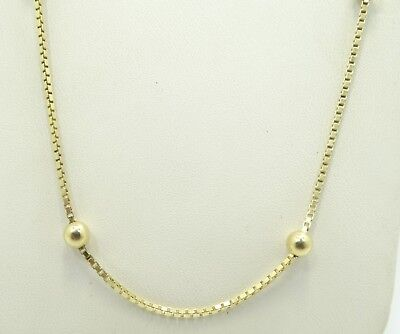 """14K Yellow Gold Italian 4.7mm Beaded 1.3mm Box Chain Necklace 16.5"""" D5852"""
