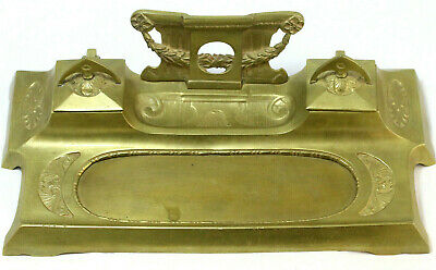 Antique Gold Bronze Inkwell. Neoclassical/Greco Deco. 1700's-style