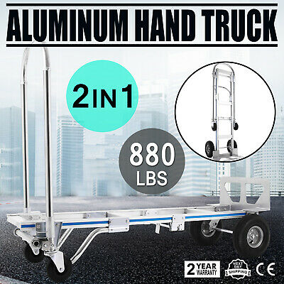 880 Lbs New Folding Hand Cart Foldable Trolley Barrow Sack Truck Aluminium