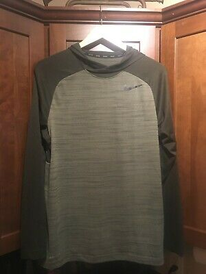 8692f327 Nike Dri-Fit Men's L/S Lightweight Poly Hoodie Green Striped Medium Pre-