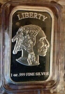 1) Liberty Indian / Buffalo Bar, 1 Troy Oz .999 Fine Silver, Sealed In Plastic