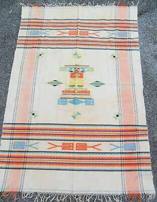 VTG 4' SOUTHWESTERN Tapestry Wall Hanging Loom Rug Mexico