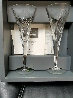 Set Of 2 Waterford Crystal Flutes The Millennium Collection 2000  Flutes NIB