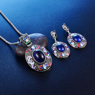 Jewelry Set Necklace Pendant & Earrings Vintage Silver and Enamel Turkish Boho