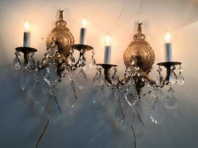 ANTIQUE VTG BRASS BOW PETITE CHANDELIER SCONCE WALL LAMP w FRENCH CRYSTALS PAIR