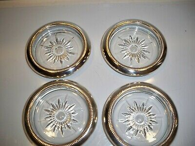 4 Silver Plated Crystal Coasters Leonard Italy