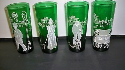 4 Vintage Emerald Green Drinking Glasses 6 5/8'' Hot Air Balloons And More
