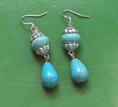 "2.25"" Drop Bali Style Turquoise Antique Silver Earrings, Luv Em!!!"