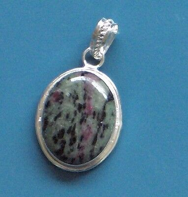 "Ruby Zoisite Sterling Silver Plated Pendant 1.5"" Really Special For Your Gal!"