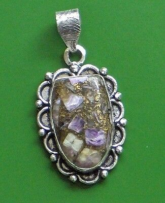 "Stunning Charoite In Copper 925 Silver Plated Pendant 2"" Antique Look!!!!!!"