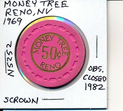 $.50 Casino Chip Money Tree Reno Nv 1969 Scrown #N5252 Obs Closed 1982
