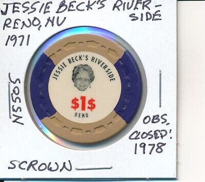 $1 Casino Chip Jessie Beck's Riverside Reno Nv 1971 Scrown #N5505 Obs Closed1978