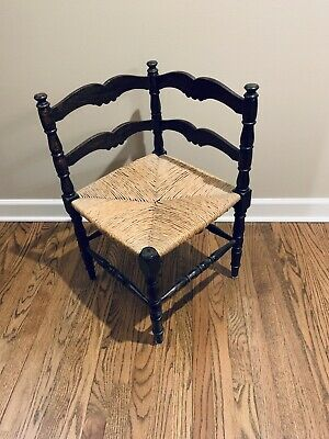 Antique Corner Chair with Rush Seat and Hand Carved Wood