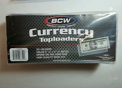 25 x BCW Regular Dollar Bill Currency Toploaders