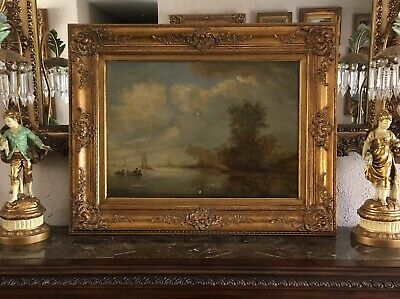 Antique Baroque Oil Painting Fishermen In Boats River Landscape Scene O/C Signed