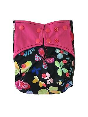 Cloth Diaper Cover Bamboo Charcoal OS Reusable Washable NEW Butterfly USA SELLER