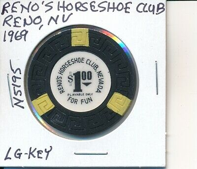 $1 Casino Chip Reno's Horseshoe Club Reno Nv 1969 Lg-Key #N5195 Gambling Token