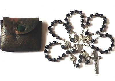 ⭐ Vintage Rosary Rosaries ✞ Victorian Onyx Glass ☧ Priest Estate Medals Crucifix