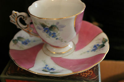 Vintage Tea Cup and Saucer Merit Occupied Japan Pink White & blue flowers