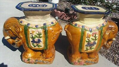 Rare Pair Antique Chinese Elephant Garden Seats Plant Stands Side Tables Ceramic