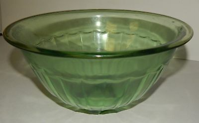 Green Depression Glass Serving Mixing Bowl Vintage Deco Style