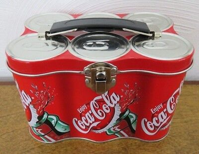 """Coca Cola Mini Metal Box 6"""" x 4"""" x 4"""" Tin Six-Pack Shaped Latched Container"""