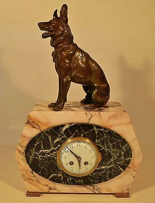 Beautiful Marble Art Deco French F. Marti Bronze Dog Sculpture Mantel Clock 1900