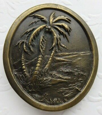 Vintage Tropical Ocean Palm Trees Brass Belt Buckle 1976 Indiana Metal Craft NOS