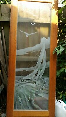 Art Deco Etched glass doors c1930's. Glass excellent condition, frames need work