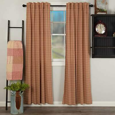 VHC Brands FARMHOUSE Country CURTAINS Sawyer Mill Red Plaid Panel Set of 2 84x40