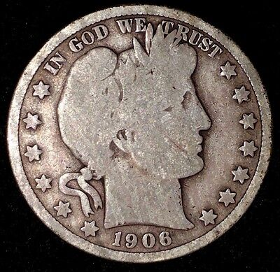 1906-D 50C Barber Half Dollar, 17acu1509 90% Silver, 50 Cents Shipping