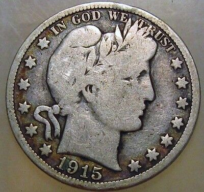 1915-D 50C Barber Half Dollar, 17roa11009 90% Silver, 50 Cents Shipping
