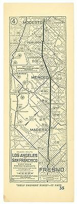 1920s Los Angeles to San Francisco, AAA Automobile Club of Southern Calif Map