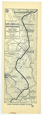 1920s Los Angeles to San Francisco P3, AAA Automobile Club of Southern Calif Map