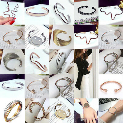 Fashion Womens Gold Silver Stainless Steel Bracelet Open Cuff Bangle Wristband