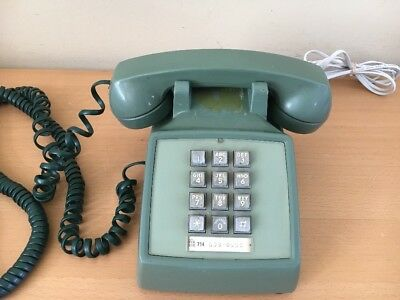 Vintage Push Button Telephone Dark Green Avocado  Bell System Western Electric