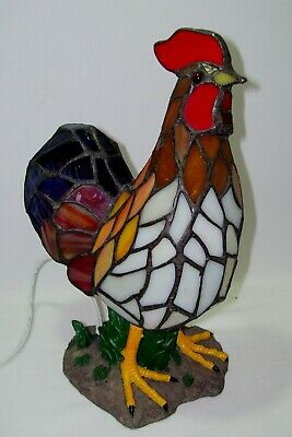 Rooster Chicken Tiffany Stained Glass & Brass Farm Themed Electric Nightlight