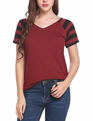 a6d7896bc9 Zeagoo Women Casual Striped Raglan Sleeves V Neck Baseball Tee T Shirt