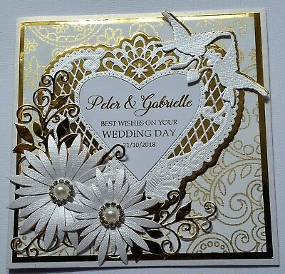 Handmade Personalised - WEDDING Card - Gold / White - CHOOSE YOUR OWN NAMES..
